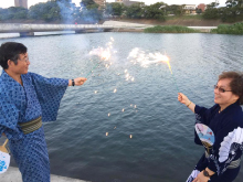 "Enjoy Japanese firework in an authentic""yukata (summer kimono)"""